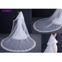 Buy cheap White Women Wedding Gown Accessories Veil With Lace Beading Decoration Design product