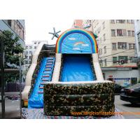Buy cheap inflatable bouncer ,PVC Tarpaulin Camo Slide / Commercial Inflatable Dry Slide With Logo Printing from wholesalers