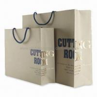 Buy cheap Non-toxic Paper Bags with Glossy Lamination, Fashionable Design, Various Sizes are Available product