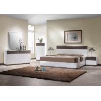 Buy cheap E1 Panel bedroom set / White High Gloss Bedroom Furniutre with Walnut Melamine product