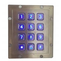 Buy cheap IP65 water proof stainless steel industrial metal keypad with 3 x 4 numeric keys and blue LED product