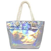 China Waterproof All Over Printing PVC Coating Tote Shoulder Fabric Shopping Bag With Gusset And Lining,Jelly Clear Plastic PV on sale