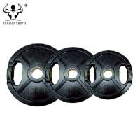 Quality Black Rubber Coated 2 Grips Weight Disc Plates for sale