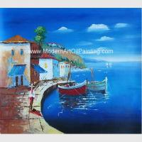 Buy cheap Framed Seascape Mediterranean Oil Painting Canvas Handmade By Palette Knife from wholesalers