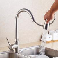 Quality Gold long neck extendable pull out brass kitchen basin faucet For Hotel Use for sale