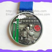 Buy cheap Engraved color fill metal Marathon medals, China maker OEM engraved ribbon medals product