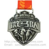 Buy cheap Embossed 3D event medal with ribbon, designer 3D metal medal with embossed figure product