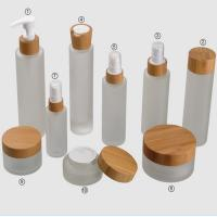 Buy cheap Frosted Glass Empty Cosmetic Containers ,100ml Bamboo Cap Face Cream Jars product