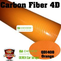 Buy cheap 4D Glossy & Shiney Carbon Fiber Vinyl Wrapping Films--Orange product