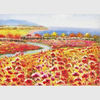 Buy cheap Palette Knife Poppy Oil Painting Colorful Red Floral Canvas Painting for Home from wholesalers