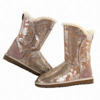 Buy cheap Women's 2013 Fashionable Cozy Sheepskin Boots with Glossy Embossing Floral Patterns product