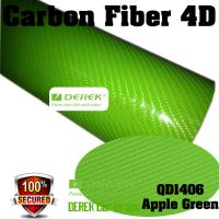 Buy cheap 4D Glossy & Shiney Carbon Fiber Vinyl Wrapping Films--Apple Green product