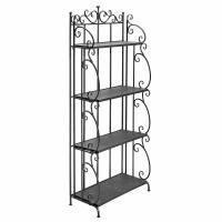 Buy cheap Folding Black Metal Display Shelf / 4 Tier Storage Organizer Solid Structure product