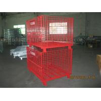 Quality Epoxy Powder Coating Painting Red Wire Mesh Container Heavy Weight 2000lbs Loaded for sale