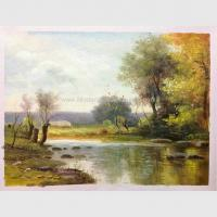 Buy cheap Impressionist Original Oil Landscape Paintings River Rock Landscaping Handmade from wholesalers