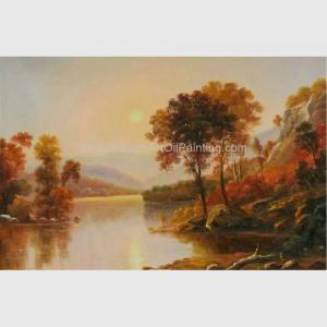 Buy cheap River Sunrise Original Oil Landscape Paintings Horizontal 50 cm x 60 cm from wholesalers