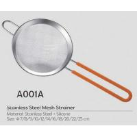 China Hot selling kitchen stainless steel mesh strainer with silicone ear and handle on sale