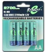 Buy cheap Ni-MH AA 2700mAh 1.2V batteryforTV, mobile scales, handheld computer, positioning devices product