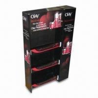 Buy cheap Cosmetic Display Stand, Made of Corrugated Cardboard, with Plastic Hooks, Measures 60 x 40 x 160cm product