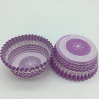 Buy cheap Purple Round Shape Muffin Paper Cups, Striped Cupcake LinersFDA SGS Standard product