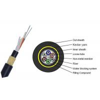 Buy cheap Dry Core 24 Core Fiber Optic Cable , FRP Strength Member Single Mode Fiber Cable product
