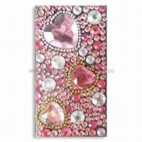 Buy cheap 3-D Sparkling Mobile Phone Sticker with Pink Tone and Rhinestones, OEM Orders are Welcome product