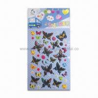 Buy cheap 3-D Puffy Stickers in Butterfly Shape, Made of Vinyl, Sponge and Transparent PET product