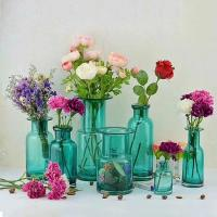 Buy cheap Home Deco Glass Vases / Blue Glass Flower Bottle / Round Top Vase product