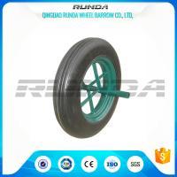 China Line Pattern Solid Rubber Wheelbarrow Wheels14 Inch Hollow Axle Powder Coated Rim on sale