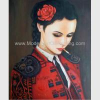 Buy cheap Human Figure Painting Oil Painting Canvas / Smoking Woman In Red Painting from wholesalers