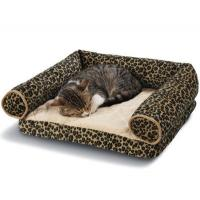 Buy cheap Leopard Print Memory Foam Bolster Dog Bed Suede Fabric Cover Non - Slip Bottom product
