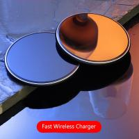 Buy cheap 10W Round Desktop Pad LED Light Wireless Phone Charger For Iphone X 8 Plus product