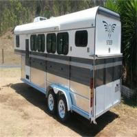 Quality 3 and 4 goose neck horse trailer with living area, China goose neck horse trailer with bed sofa, shower for sale