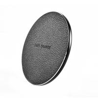 Buy cheap Fashionable Round PU Leather Desktop Wireless Phone Charger 5V 2A 9V 1.67A Input product