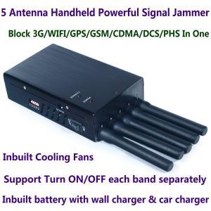 Buy cheap 5 Antenna Handheld Cell Phone 3G WIFI GPS GSM CDMA DCS PHS Signal Jammer 20M Shield Radius product