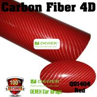 Buy cheap 4D Glossy & Shiney Carbon Fiber Vinyl Wrapping Films--Red product