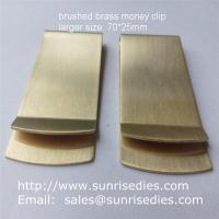 Buy cheap Satin brushed brass Money Clip with good tension, large sized brass money clip wallets product