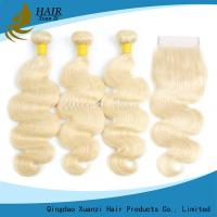 Buy cheap Natural Body Wave Blonde Hair Extensions , Weft Peruvian Virgin Hair No Smell from wholesalers