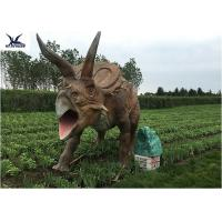 Buy cheap Life Size Farm Animal Models , Full Size Triceratops Dinosaur Lawn Sculpture product