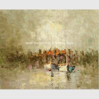 Buy cheap Framed Palette Knife Oil Painting , Abstract sailboat scenery wall art painting from wholesalers