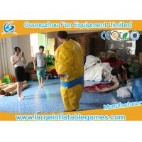 Buy cheap 1.5m / 1.8m 0.4mm PVC Inflatable Sumo Wrestling Suit Yellow foam padded mattress for games from wholesalers