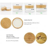Buy cheap Luxury 5g 10g 15g 30g 50g 60g 100g CBD cosmetic glass cream bamboo container jar with wooden cap product