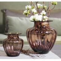 Buy cheap Mouth Blown Decorative Glass Flower Vases / Hand Wash Three Size Pink Glass Vase product