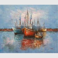 Buy cheap Thick Oil Abstract Sailboat Paintings / Hand Painted Boat Landscape Paintings from wholesalers