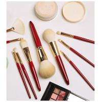 China Red Wood Handle Powder Foundation Brush Single Rose Type Appearance CNAS Approved on sale
