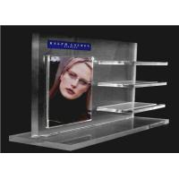 Buy cheap Recycled Acrylic Cosmetic Display Floor Stand Transparent With Poster Holder product