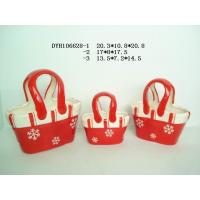 Buy cheap Decorative Ceramic Flower Pots Bag Shaped Xmas With Handle 20.3 X 10.5 X 20.8 Cm product