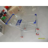 Buy cheap Europe Style 100L Supermarket Shopping Carts Grocery With Blue Plastic Parts from wholesalers