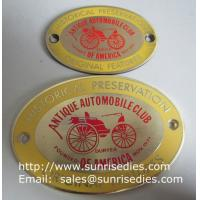 Buy cheap Enamel Metal Sign Board with screw holes, OEM metal sign plate with colour filled product