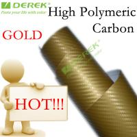 Buy cheap High Polymeric Carbon Fiber Vinyl Car Wrapping Film - Gold product